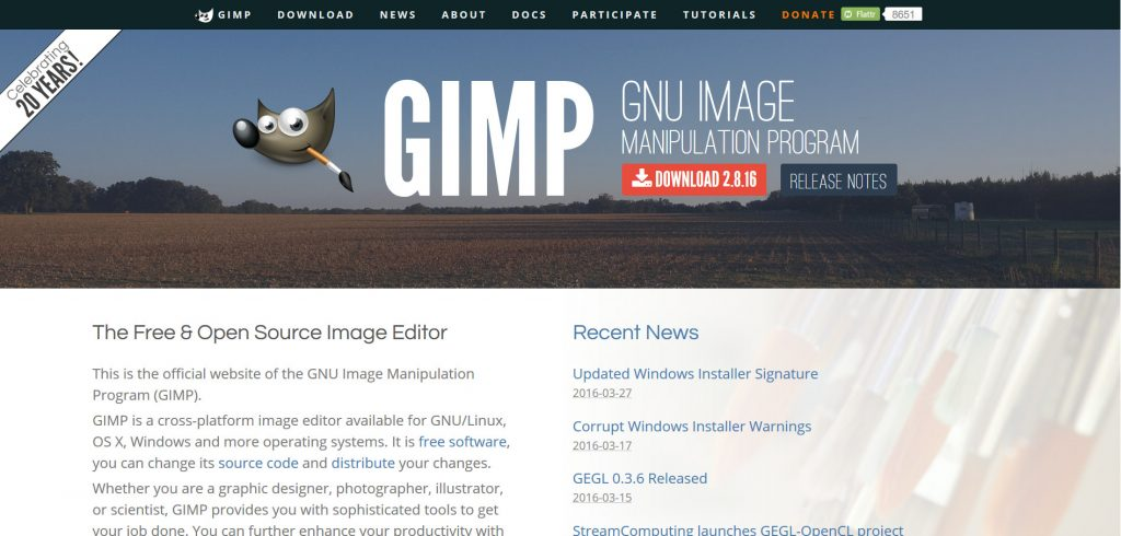 GIMP is a one of the most popular free and open-source image editor