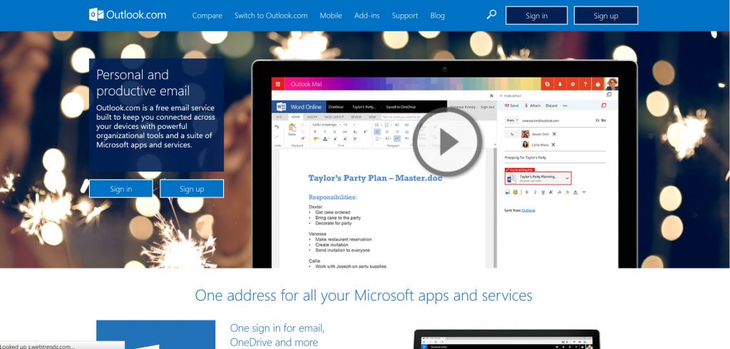 Outlook, Microsoft's email service