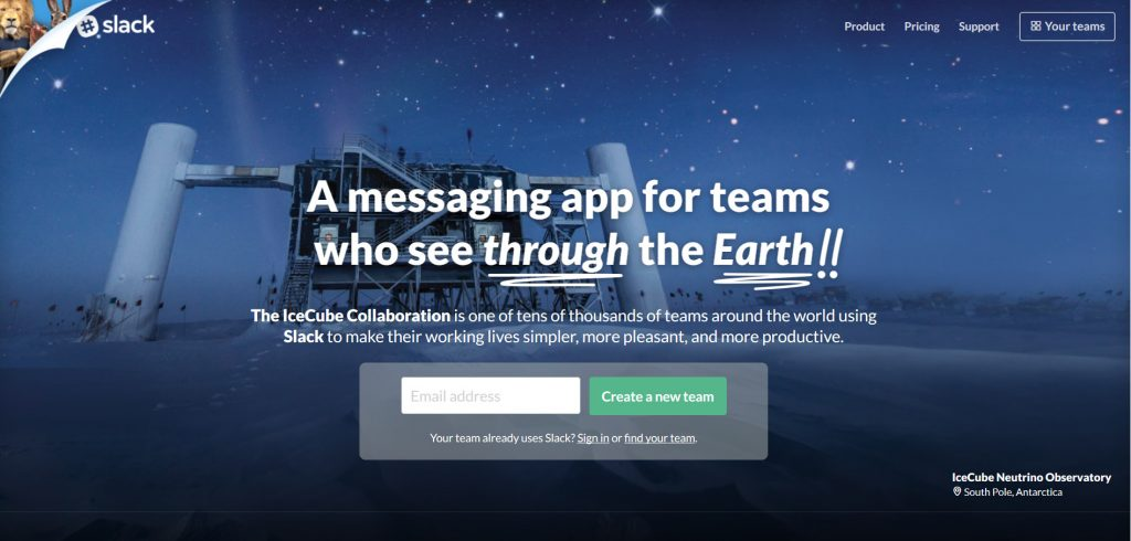 Slack, a real-time message app designed for team communication