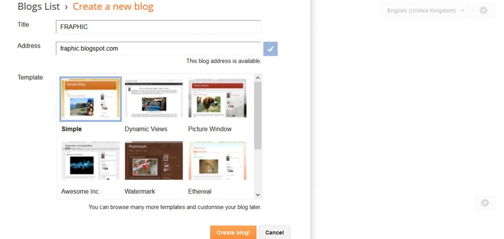 Creating a new blog on Blogger