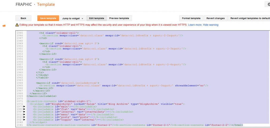 Go to Template, Customize HTML, and replace the code