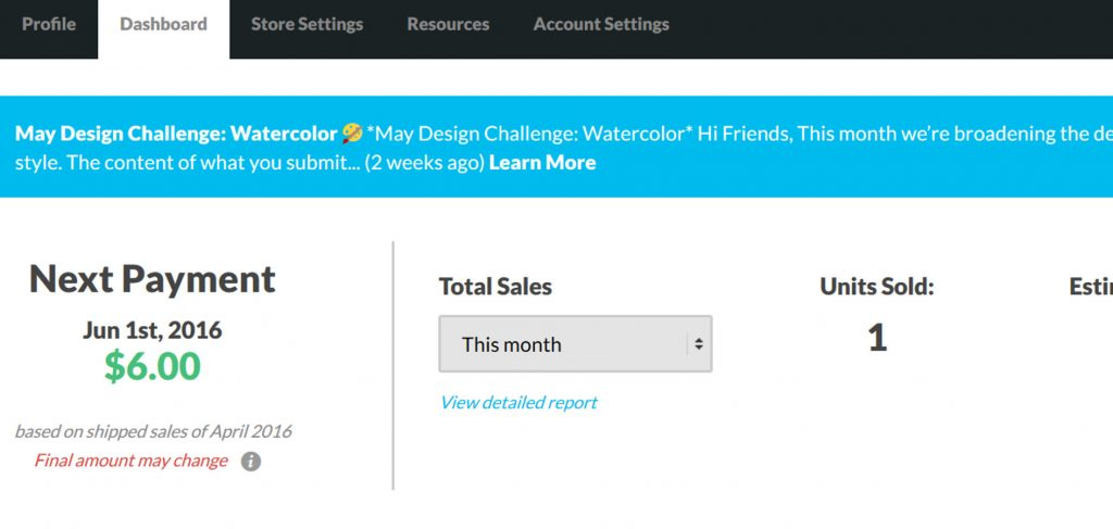 Sales and payment dates are displayed on your dashboard