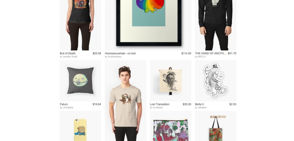 A wide range of products on Redbubble