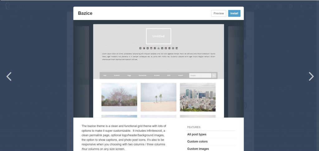 Bazice, a clean theme with grid layout