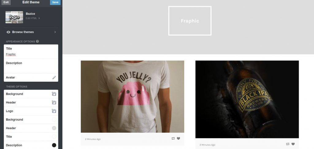 Customize the appearance of your portfolio site with theme options