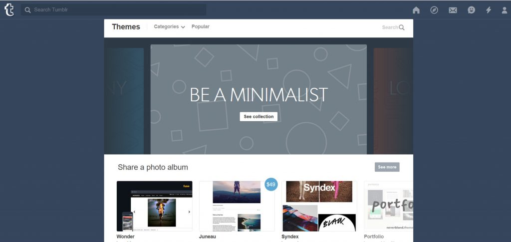 Tumblr has a wide selection of themes available
