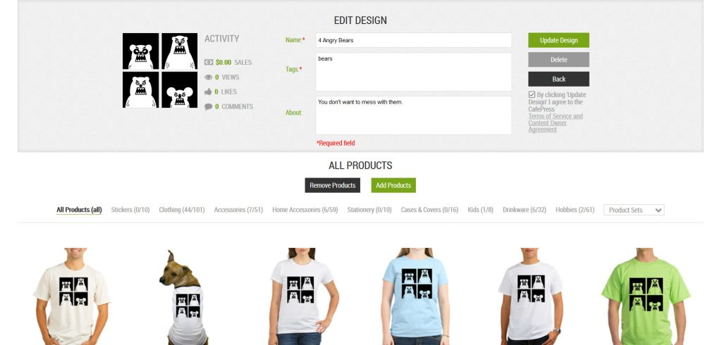 You can manually edit your artwork and products on CafePress