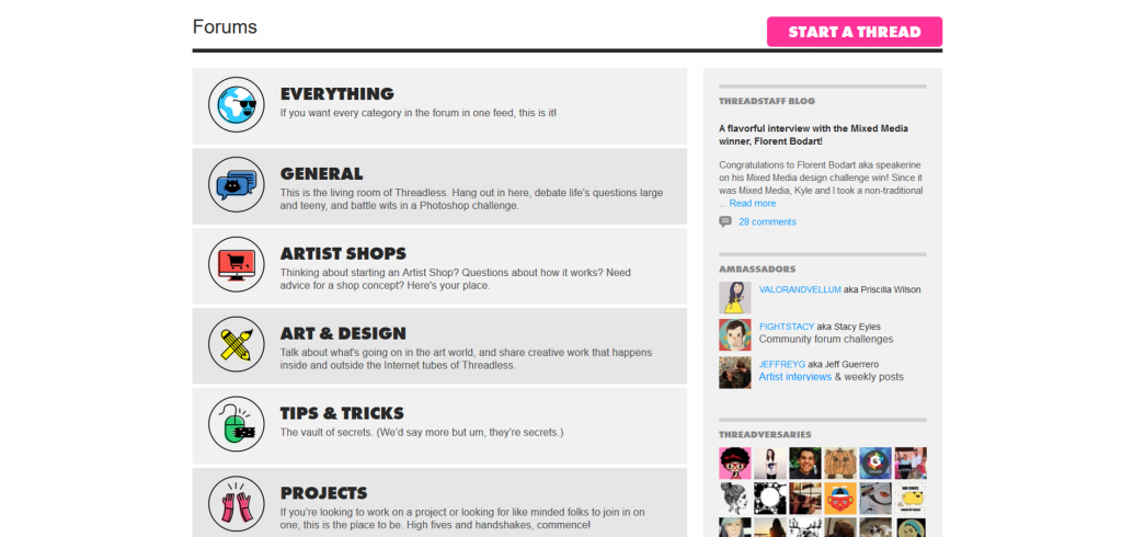 Threadless has forums where you can interact and connect with the community