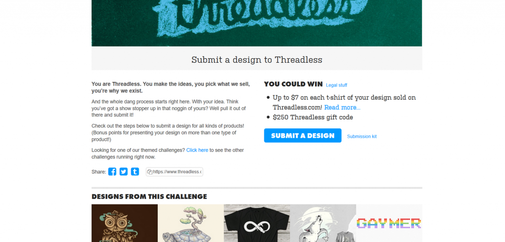 You can easily participate in any one of Threadless' challenges