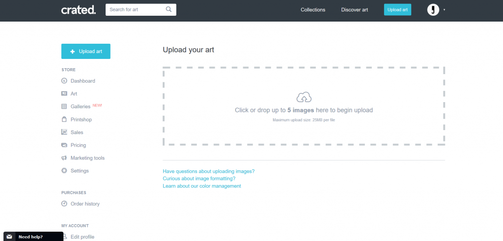 Upload your artwork to Crated