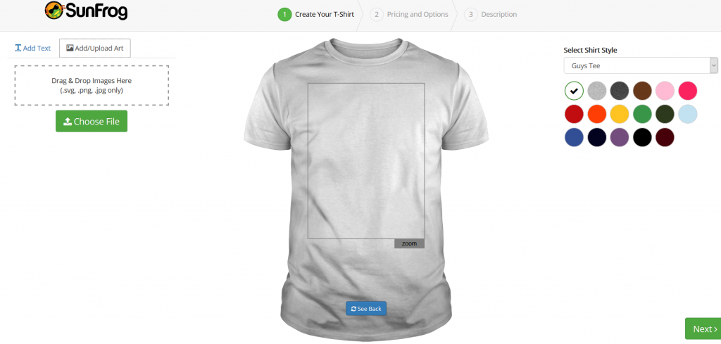 Upload your design and choose the primary shirt color