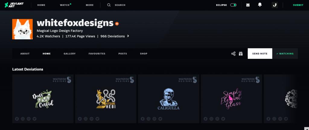 whitefoxdesigns, a popular DeviantArt member specializing in logo design