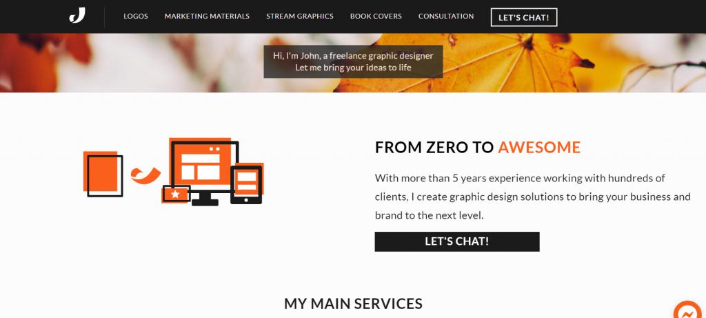 The homepage of my upgraded portfolio site