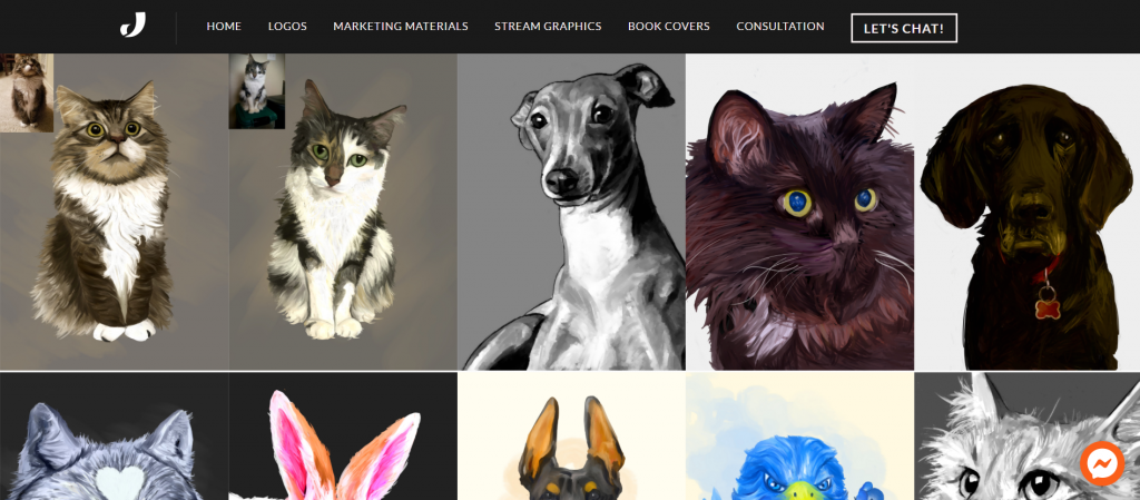 Started offering pet and animal portraits services on my website