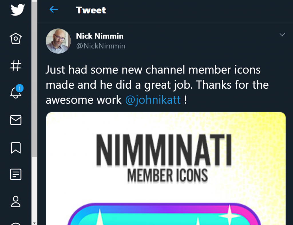 Received a Twitter shoutout from Nimminati for making his new channel member icons