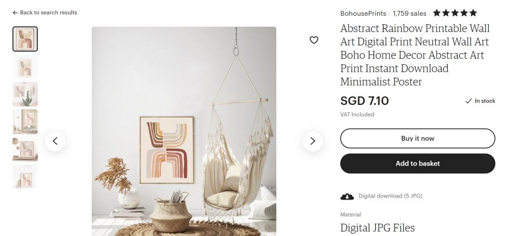 A successful Etsy shop selling digital prints