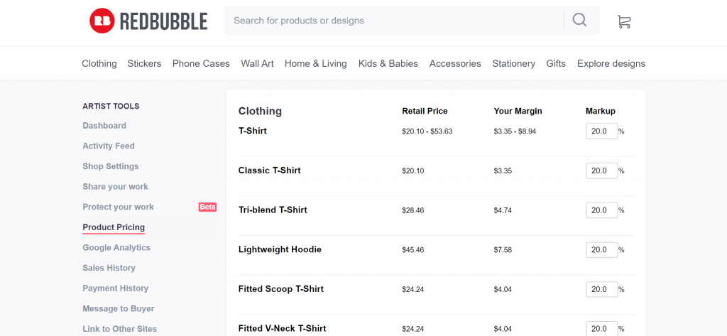 Redbubble makes it easy to adjust product pricing