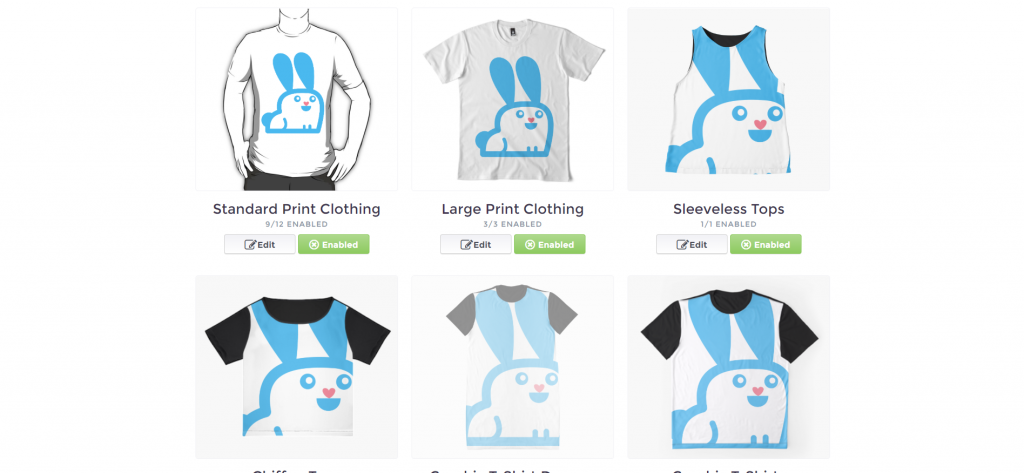 All products are editable on a single page on Redbubble