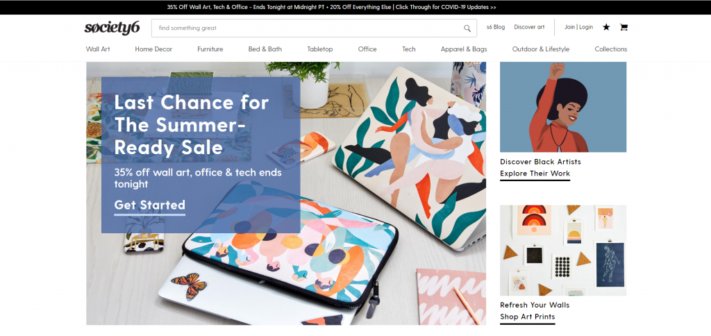 Society6, one of the most popular print-on-demand sites